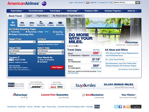 Screenshot of American Airlines' new webstie