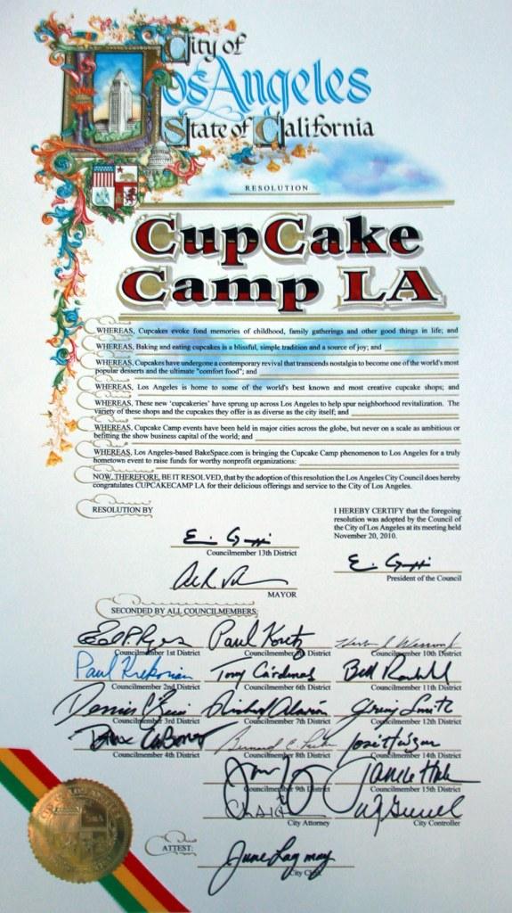 LACity proclamation for Cupcake Camp LA