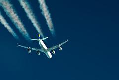 A340 (Jon Bowles) Tags: blue pentax sigma aerial airbus contrails lufthansa a340 k7