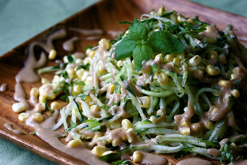 Raw: Cucumber Noodles with Sweet Corn and a Creamy Brazil Nut Sauce