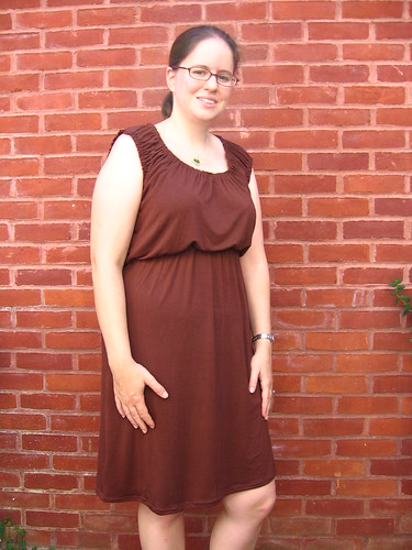 Brown Knit Peasant Dress