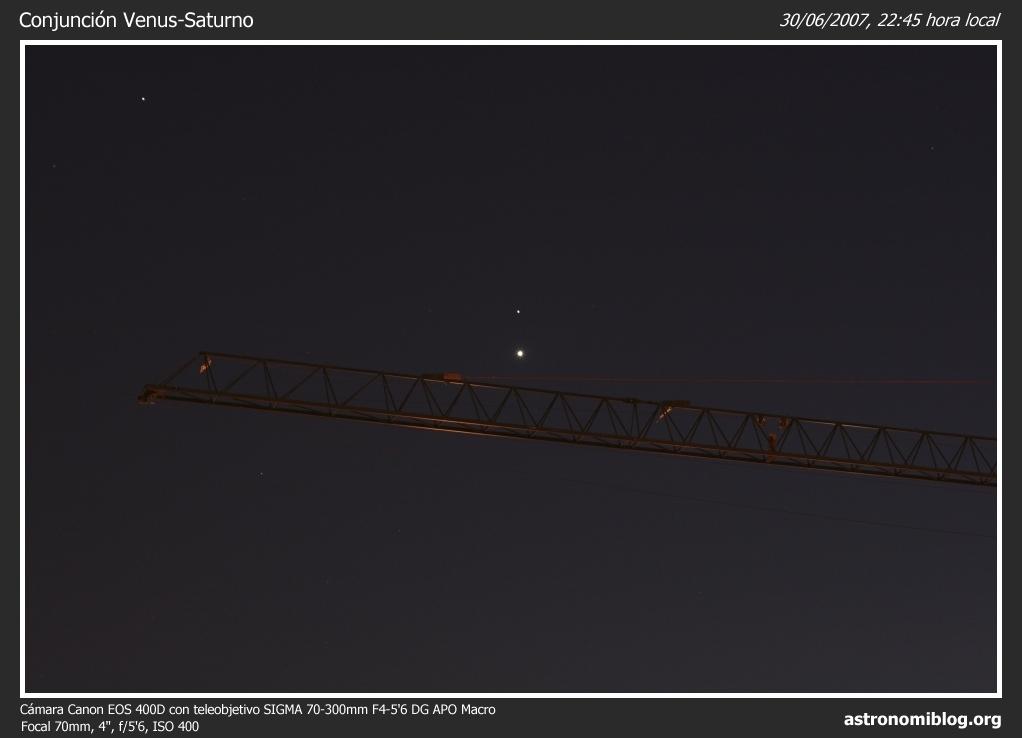 Conjunción Venus-Saturno 30/06/2007