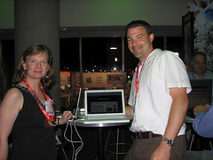Sharon and Jeff Utecht at Bloggers' Café  NECC 2007