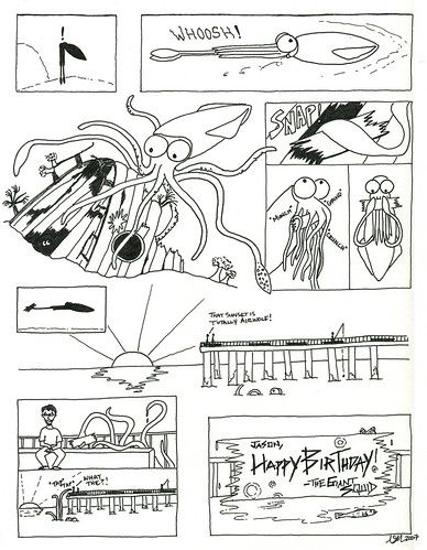 funny birthday comics. Birthday squid cartoon