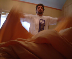 21/08/2007 (Day 264) - Making The Bed (Kaptain Kobold) Tags: selfportrait yellow alan bed bedroom linen housework 365 timer making selfie day264 kaptainkobold 365days yourfave thebed 365tuesday 3650807 365set8 365year1