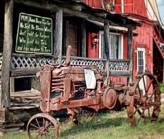 Red Barn Restaurant, Demopolis, Alabama (...Ashish...) Tags: tractor photoshop restaurant antique alabama hdr redbarn funnysign johndeere rundown picassa lucisart blueribbonwinner demopolis supershot mywinner anawesomeshot theperfectphotographer