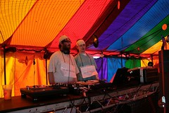 Sickies DJ (Dubber) Tags: blue red music orange signs men green wearing yellow dj purple drink head tent turntable medical nil bandages shambala