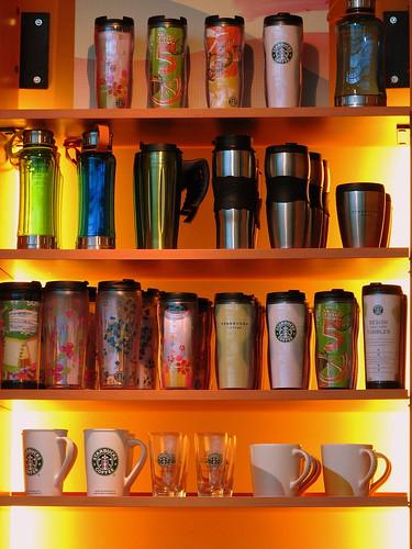 Wall of mugs