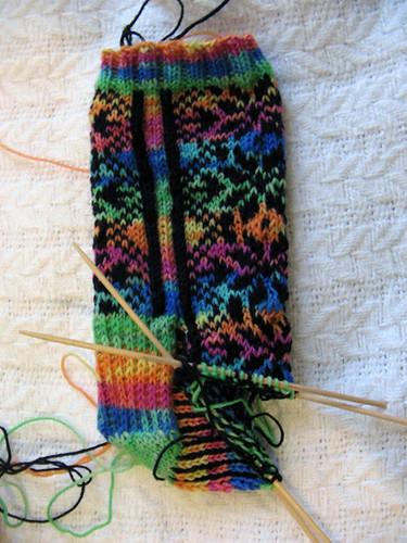 Snowflake socks WIP