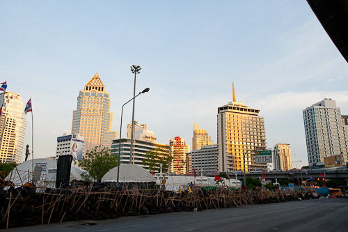 View over Silom are and the red shirt camp at Lumphini Park, Bangkok