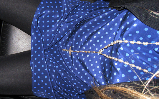 Geren Ford polka dot dress+vintage rosary beads