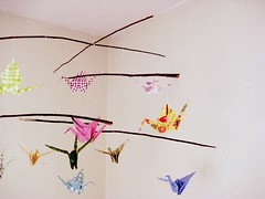 Origami Mobile (TheAnnieHour) Tags: bird beautiful make mobile paper photography sticks origami pretty crane crafts craft create decorate