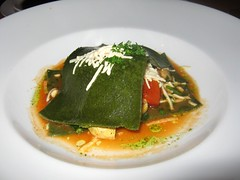 Roasted Artichoke, Bell Pepper, Spinach and Daiya Cheese Open Ravioli