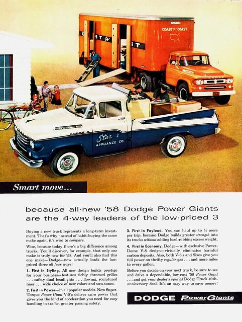 ad pickup 1958 dodge tractortrailer sweptline