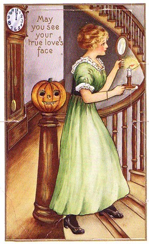 halloween_vintage-halloween-woman-mirror-pumpkin-candle-clock-card
