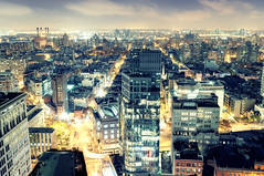 East Village at Night, New York City (andrew c mace) Tags: nyc newyorkcity longexposure roof eastvillage newyork rooftop skyline brooklyn night cityscape manhattan williamsburg astorplace williamsburgbridge stmarksplace lafayettestreet colorefex nikoncapturenx nikond90