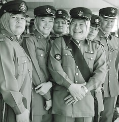 Women in uniform - Brunei. (ndnbrunei) Tags: blackandwhite bw 120 6x6 tlr film smile rollei mediumformat square kodak hijab bn mf kodakbw400cn brunei rolleicord bw400cn womeninuniform classicblackwhite rolleigallery ndnbrunei