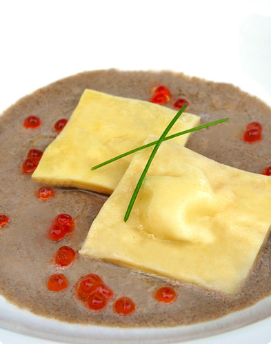 Shrimp Mousse Ravioli with Salmon Roe and <span class=