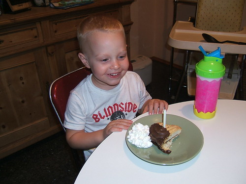 "Max, with his own ""Sparky's Birthday Cake"""