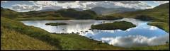 Angle Tarn Panorama, Lake District (BoblyP) Tags: uk england sky panorama lake mountains reflection water countryside unitedkingdom lakedistrict betty tarn hdr angletarn hdrpanorama boblyp