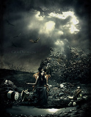 kingdom (Marcela Bolvar) Tags: storm illustration photomanipulation photography garbage digitalart kingdom queen digitalpainting vulture rotten throne fallingapart decrepitude lostkingdom graydecay marcelabolivar