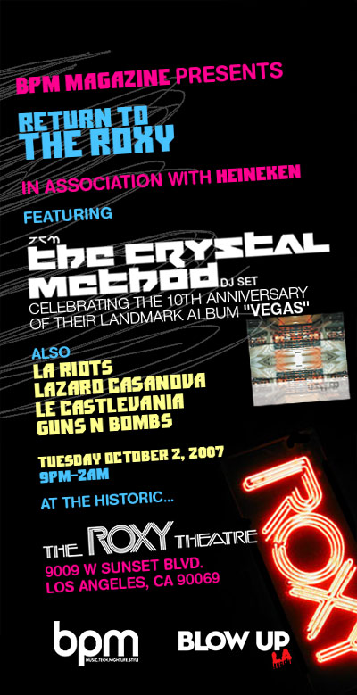 BPM Presents The Crystal Method *dj set*, LA Riots, Lazaro Casanova, Le Castle Vania, Guns N Bombs