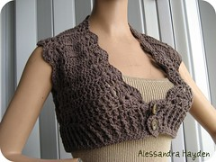 Spring/Summer Cotton Shrug (Just Be Happy Crochet) Tags: brown handmade crochet yarn cotton etsy cocoa shrug