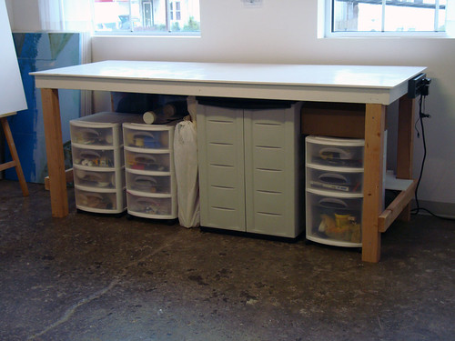 Work Table With Storage Units