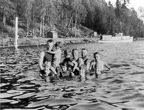 Bathers in Lake Washington at Burrows Landing, Bellevue, Washington