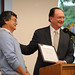 President Rush presents Dr. Muraoka with the Quality Improvement Program award, April 2009.