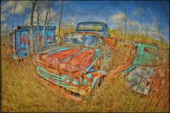 Junk Yard (Calvin J.) Tags: auto old ontario canada texture yard truck vintage junk nikon nikkor salvage wreckage hdr wrecking rockwood photomatix mcleans 16mmfisheye d700