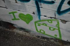 I love cheese (naterogers) Tags: city urban toronto modern graffiti cool alley grafitti metro grafiti tag hipster tagged graffitti organic hip tagging orangina alleys businesstrip tagger naterogers