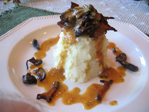 devil's_tower mashed potatoes with chanterelle porcini and morel mushrooms
