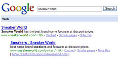 SneakerWorld  in Google SERP