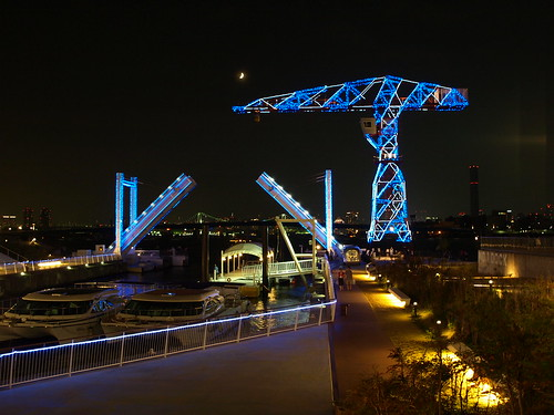 blue light bascule bridge