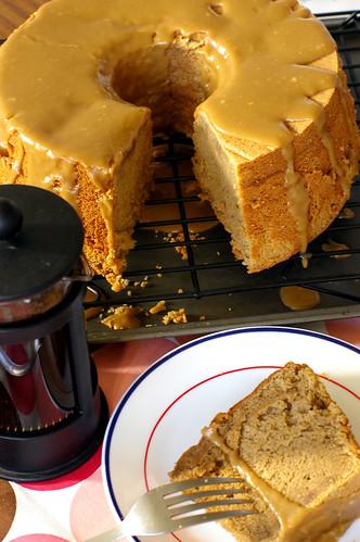 Espresso Chiffon Cake with Caramel Glaze