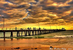 The Jetty (Kelvin Wong (Away)) Tags: sunset sea people nature water australia adelaide dramaticsky southaustralia hdr henleybeach 25faves superaplus aplusphoto kelvinwong piscesromance silhuttes