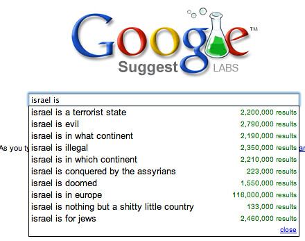 Google Suggests Israel is...