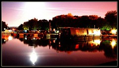 Priory Marina Bedford. (felixtree) Tags: moon topf25 water colors night reflections boat canal interestingness colorful long exposure favourites colourful scape lunar bunt barges interestingness6