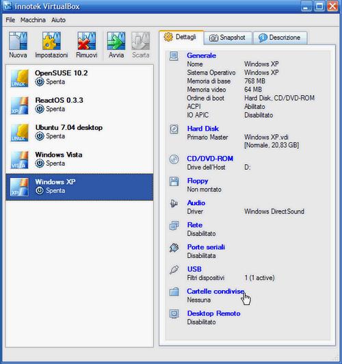 Fig. 3 - VirtualBox cartelle condivise - Inizio impostazioni