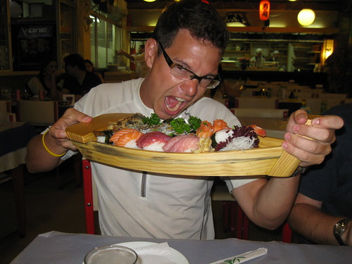 Swiss devours his sushi sampler