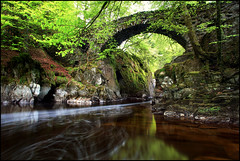 Hermitage Bridge (angus clyne) Tags: road park wood bridge light red wild summer sky lake colour tree green castle art water pool stone wall forest canon river garden dark way happy hope scotland waterfall leaf moss spring pond