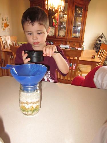 Filling bean jar