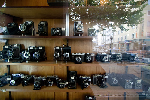 Old cameras on display