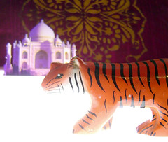 Stalking the Wild Omelette (maralina!) Tags: wood orange india art illustration 3d paint acrylic pattern purple character tiger violet lavender tajmahal jeunesse fabric childrensbook tigre narrative inde personnage threedimensional paintedwood papertheatre livredenfant