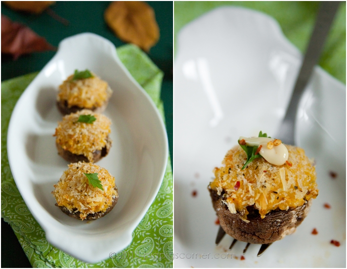 Butternut Squash Rice Balls with mushrooms