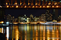 Reflections under the bridge (Rafakoy) Tags: city newyorkcity longexposure windows light ny newyork reflection tower water skyline night digital reflections river dark lights long exposure cityscape image manhattan towers images eastriver sample late nite queensborobridge rooseveltisland blackwellsisland welfareisland afsnikkor18105mmvr nikond7000