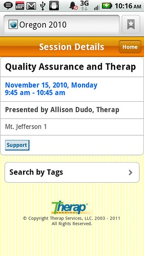 Screenshot of Oregon Conference Session Details from mobile device