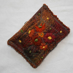 Mirror Case (Lynwoodcrafts) Tags: orange brown felted daisies mohair button daisy knitted embroidered tweed handknitted fulled mirrorcase handembroidered