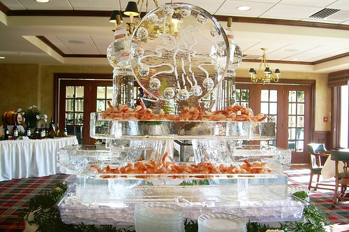 Golf, Seafood, Columns, Vodka ice sculpture